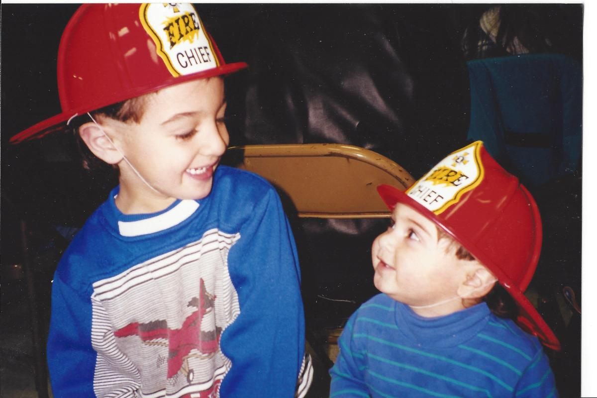 1998 Stephen and NIck with fire truck hats